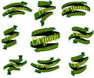 Insieme del eco, distintivi naturali organici, etichette, nastri, insegne, autoadesivi, vettore royalty illustrazione gratis