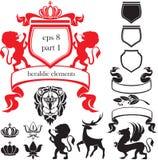 Insieme del elementsSet araldico delle siluette del heraldi Fotografia Stock Libera da Diritti