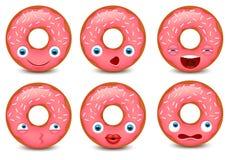 Insieme del emoji della ciambella isolato su fondo bianco Illustrazione di vettore Fotografia Stock