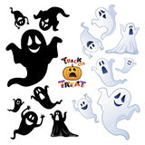 Insieme del fantasma di Halloween, siluetta del fantasma Fotografie Stock Libere da Diritti