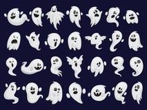 Insieme del fantasma Siluetta spettrale di Halloween Costume di orrore illustrazione di stock