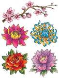Insieme del fiore del tatuaggio Immagini Stock