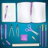 Insieme del fondo colorato dei rifornimenti di scuola ENV 10 royalty illustrazione gratis