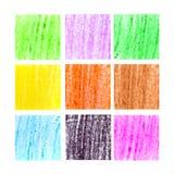 Insieme del fondo delle matite della cera di colore Fotografie Stock