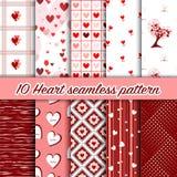 Insieme 10 del fondo senza cuciture del modello del cuore di amore Immagini Stock