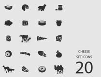 Insieme del formaggio delle icone piane Illustrazione di vettore Illustrazione Vettoriale