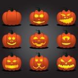 Insieme del fronte della zucca di Halloween Fotografia Stock