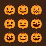 Insieme del fronte delle zucche di Halloween Immagini Stock