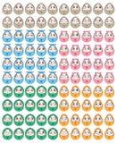 Insieme del fronte di divertimento dell'uovo Fotografia Stock Libera da Diritti
