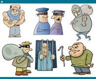 Insieme del fumetto dei delinquente e dei ladri Immagini Stock