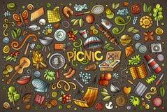 Insieme del fumetto di scarabocchio degli oggetti di picnic Fotografia Stock