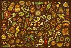 Insieme del fumetto di scarabocchio di vettore degli oggetti dell'Africa Immagini Stock