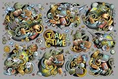 Insieme del fumetto di scarabocchio di vettore degli oggetti di tema di viaggio Fotografia Stock