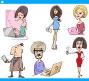 Insieme del fumetto di tecnologia e della gente Fotografia Stock