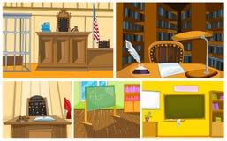 Insieme del fumetto di vettore degli ambiti di provenienza della scuola e della corte illustrazione vettoriale