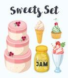 Insieme del fumetto di vettore dei dolci e dei dessert deliziosi Fotografia Stock Libera da Diritti