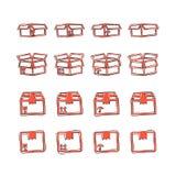 Insieme del fumetto di vettore dell'icona d'imballaggio della scatola nello stile comico Spedizione illustrazione vettoriale