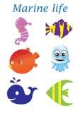 Insieme del fumetto di vita di mare Vita marina Immagine Stock Libera da Diritti