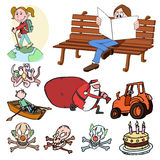 Insieme del fumetto, illustrazione Fotografia Stock