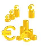 Insieme del fumetto isolato euro dell'oro dei mucchi Fotografia Stock