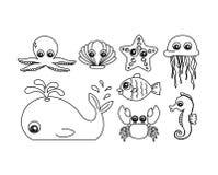 Insieme del fumetto sveglio dell'animale di mare Immagini Stock Libere da Diritti