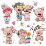 Insieme del fumetto sveglio Teddy Bear Fotografia Stock