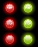 Insieme del fuoco di vettore e dei tasti di arresto Immagine Stock Libera da Diritti