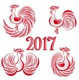 Insieme del gallo del nuovo anno Royalty Illustrazione gratis