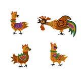 Insieme del gallo e delle galline Fotografia Stock Libera da Diritti