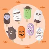 Insieme del gelato di Halloween illustrazione di stock