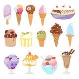 Insieme del gelato differente isolato sull'illustrazione bianca di vettore del dessert del fumetto del fondo illustrazione di stock