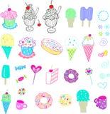 Insieme del gelato e dei dolci Immagini Stock