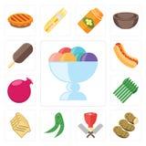 Insieme del gelato, patate, macellaio, piselli, pane tostato, asparago, Pom illustrazione vettoriale