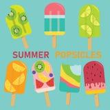 Insieme del ghiacciolo pastello di vettore, ghiacciolo della frutta, gelato, royalty illustrazione gratis