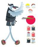 Insieme del giapponese con il cuoco Bird Immagini Stock