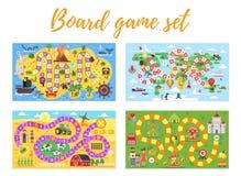 Insieme del gioco da tavolo dei bambini; illustrazione di stock