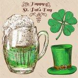 Insieme del giorno di St Patrick. Illustrazioni disegnate a mano Illustrazione Vettoriale