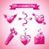Insieme del giorno di Valentine's Illustrazione di vettore Fotografie Stock