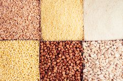 Insieme del grano dei chicchi come fondo decorativo Vista superiore, primo piano Immagini Stock Libere da Diritti