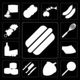 Insieme del hot dog, Jawbreaker, nocciola, coltelli, sushi, bacon, Dair illustrazione vettoriale