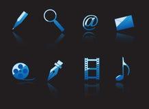 Insieme del Internet e dei simboli di media Fotografia Stock