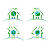 Insieme del isolat ambientale verde delle icone Immagini Stock