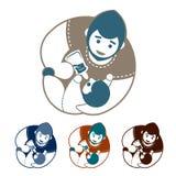 Insieme del logo del bambino e del padre Fotografia Stock