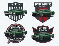 Insieme del logo classico, degli emblemi e dei distintivi dell'automobile del muscolo Fotografie Stock