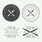 Insieme del logo d'annata, del distintivo e dell'emblema del ristorante Fotografia Stock Libera da Diritti
