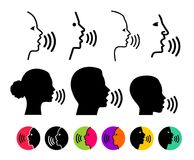 Insieme del logo d'avanguardia sottile di concetto di riconoscimento della voce Esprima la linea nera di controllo, progettazione Fotografie Stock