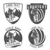 Insieme del logo, degli emblemi e dei distintivi della bicicletta Immagini Stock