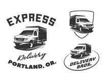 Insieme del logo, degli emblemi e dei distintivi di van delivery isolati sulla b bianca Immagine Stock