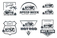 Insieme del logo, degli emblemi e delle icone di Rod caldo Immagine Stock