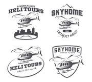 Insieme del logo, dei distintivi e degli emblemi dell'elicottero Fotografia Stock Libera da Diritti